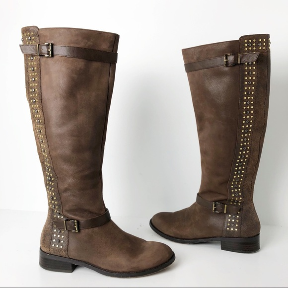 48b8908550bf Jessica Simpson Shoes - Jessica Simpson studded Ellister Moto leather boot